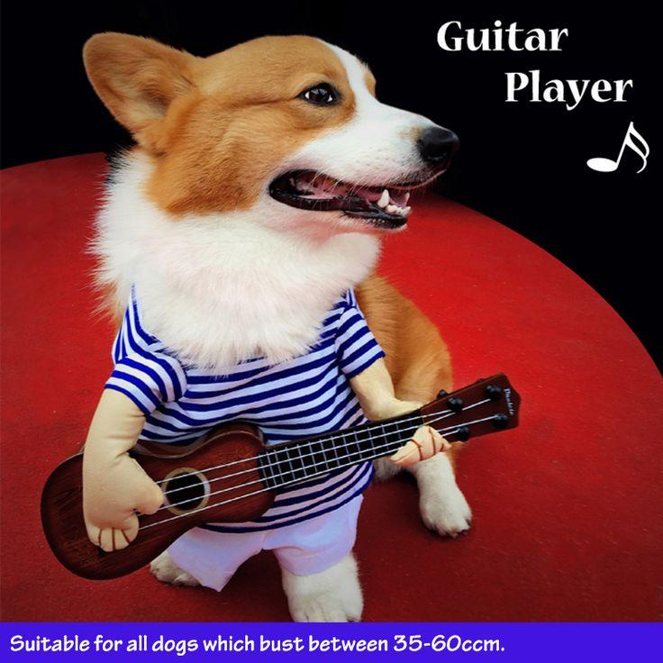 Grappig Huisdier Gitaar Speler Cosplay Hond Kostuum Gitarist Dressing Up Party Kerst Halloween Kleding voor Hond Katten Plus Pruik/Bowtie