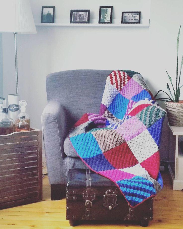 c2c crochet patch blanket