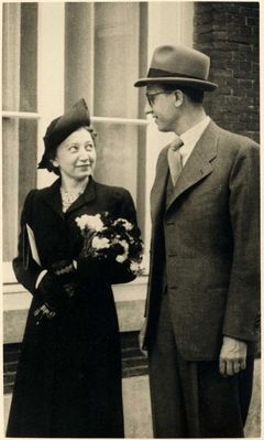 Miep Gies on her wedding day, 1941. Hermine Santruschitz better known as Miep Gies (Dutch pronunciation: [mip xis]), was one of the Dutch citizens who hid Anne Frank, her family and four other Jews from the Nazis in an annex above Anne's father's business premises during World War II.