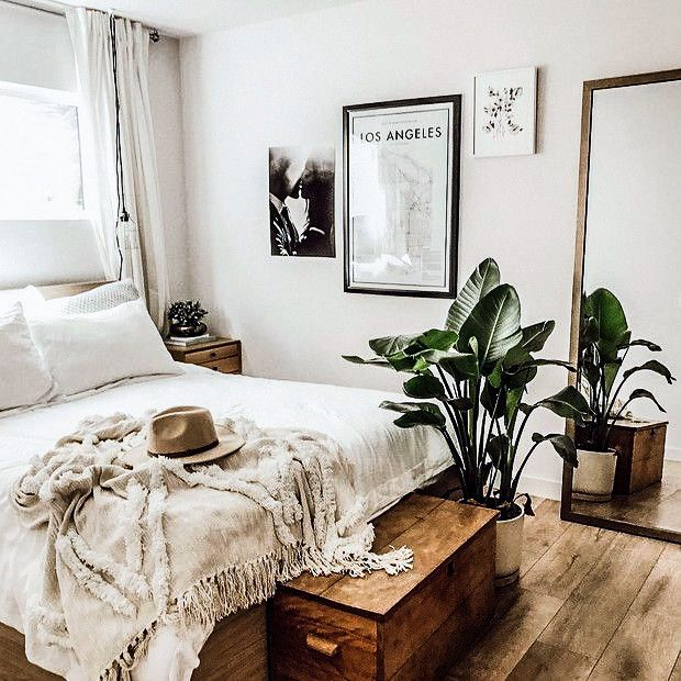 Interiors & Decor Great inspiration for a boho bedroom. The bohemian look is clean, crisp, and simple.