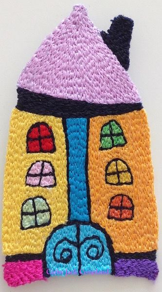 Happy House brooch 2016.  Free machine embroidery using rayon and polyester threads.