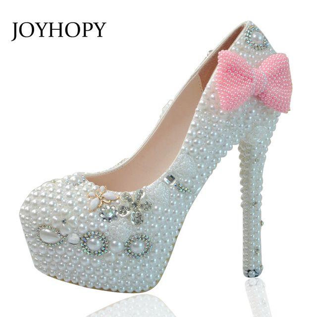 JOYHOPY Bowknot Bombas de Casamento Mulheres Do Partido Sapatos de Salto Alto Handmade Incrustada de Pérolas De Cristal De Noiva Sapatos de Plataforma Senhora Saltos Altos
