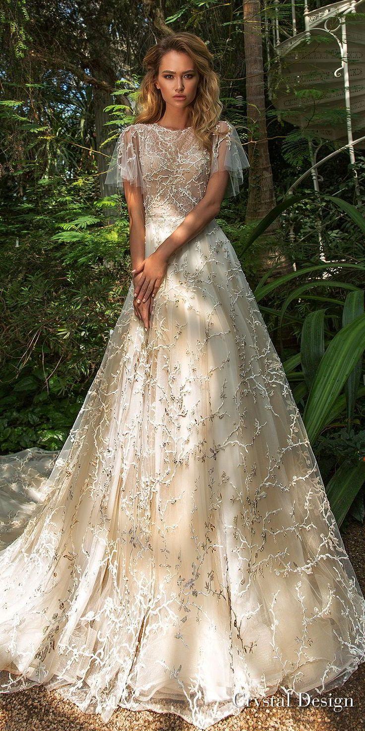 crystal design 2018 short handkerchief sleeves jewel neck full embellishment romantic bohemian a line wedding dress sheer lace back chapel train (tammy) mv -- Crystal Design 2018 Wedding Dresses #shortweddingdresses