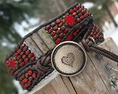 Will you be my Valentine,  ruby red leather double wrap bracelet