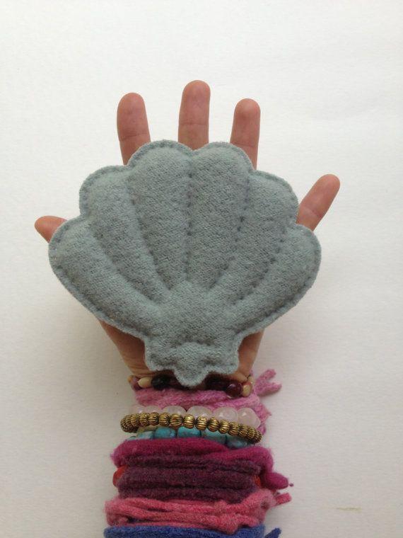 seashell bluegreen wool recycled handmade by sudakworkshop on Etsy, €12.00