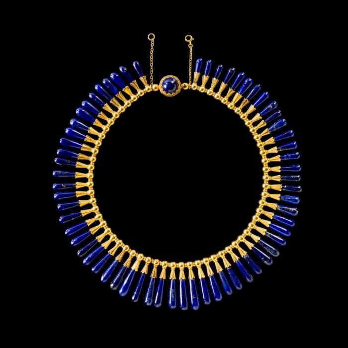 Egyptian style necklace and earrings: lapis lazuli, gold Luigi Freschi, Rome, Italy, about 1860.