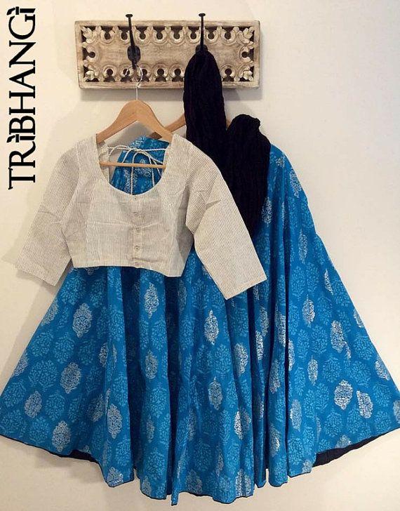 Peacock blue Jaipur block print gopi skirt with black by Tribhangi