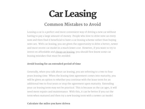 Common Car Leasing Mistakes to Avoid
