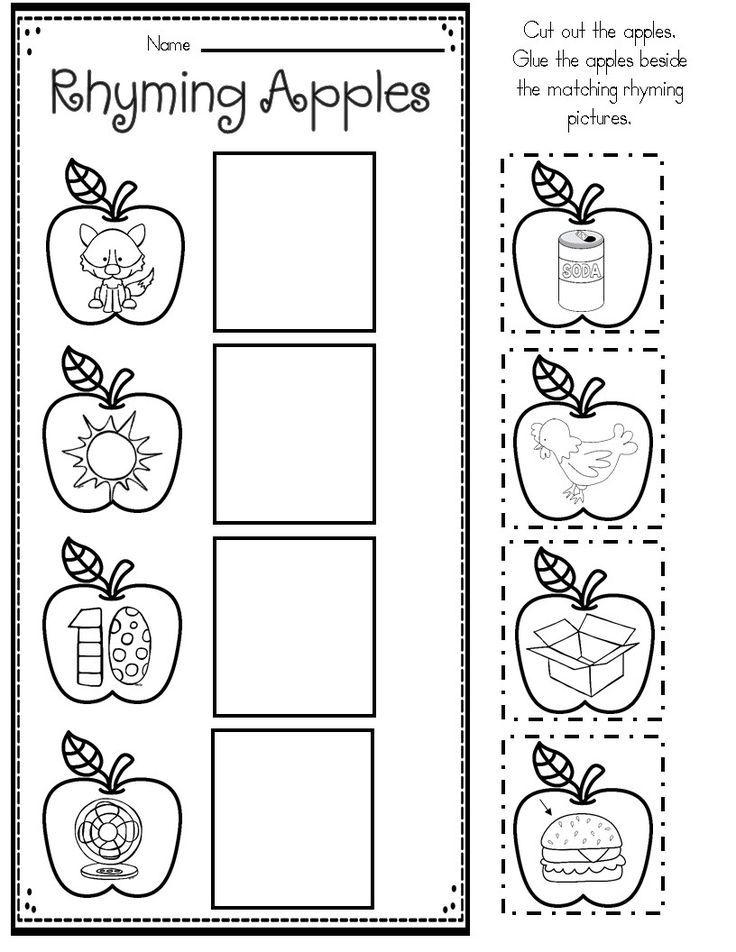 Apple Rhyming Kindergarten Worksheets Printable Nouns Worksheet Kindergarten Apple Math Worksheets