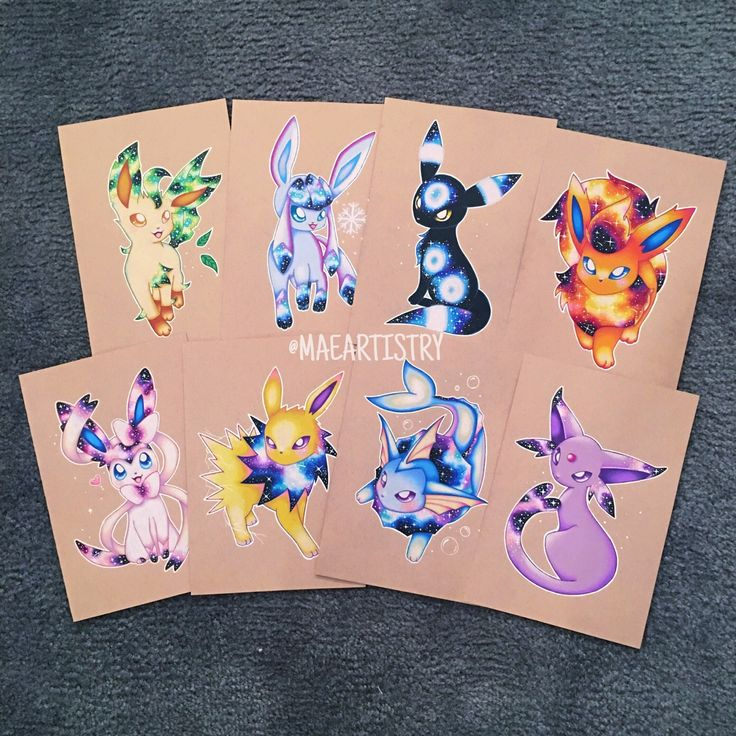Hey friends! Here is how the individual eeveelutions look together. I'm just currently missing Eevee.  I still need to re do Eevee because I messed up. I'll hopefully re do Eevee soon! I'm trying to get as much requests in as possible  I'm working...