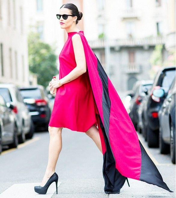 Dramatic caped dress and stilettos // Photo: The Styleograph #MFW #streetstyle