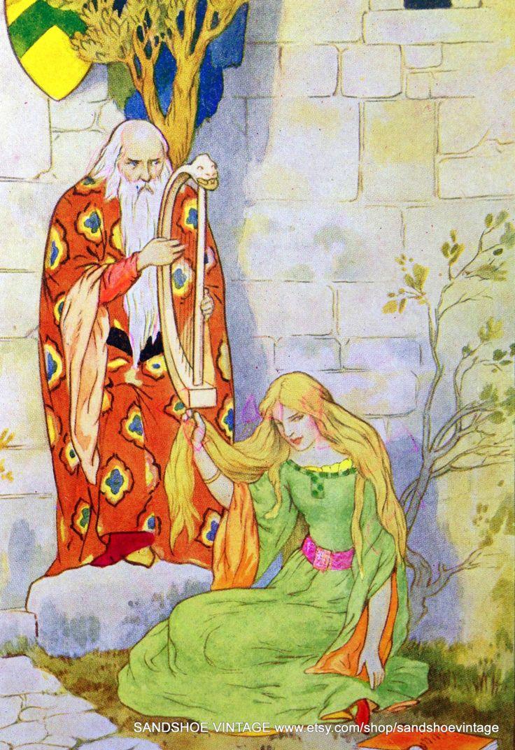 1930s Merlin and GUINEVERE KING ARTHUR illustration by Harry G. Theaker