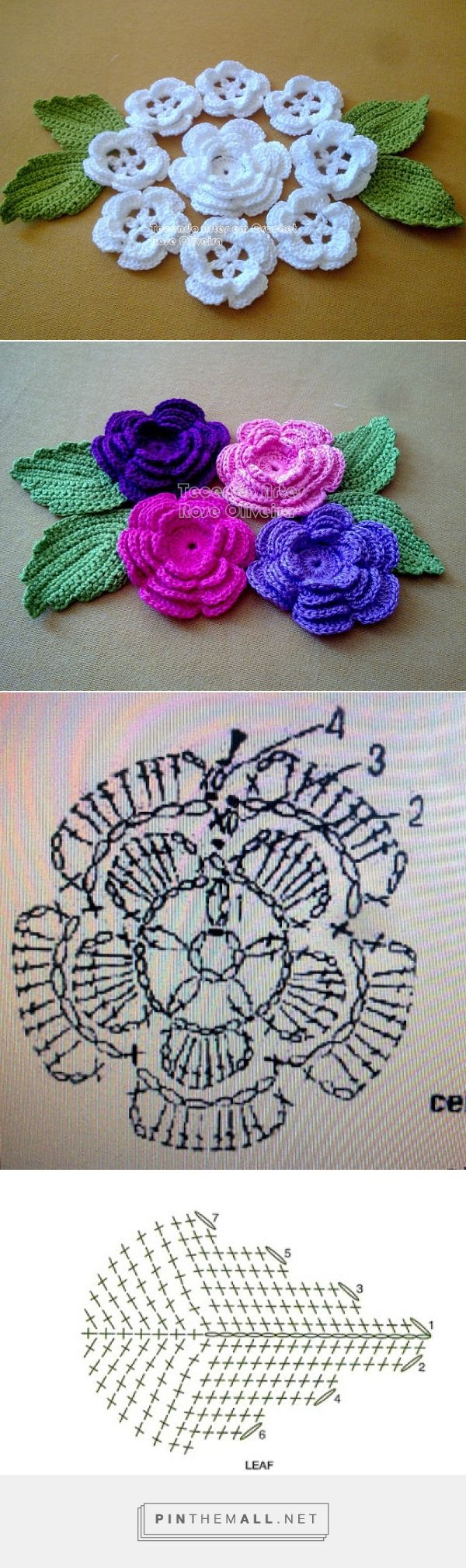Tecendo Artes em Crochet: Composição com Flores - created via…