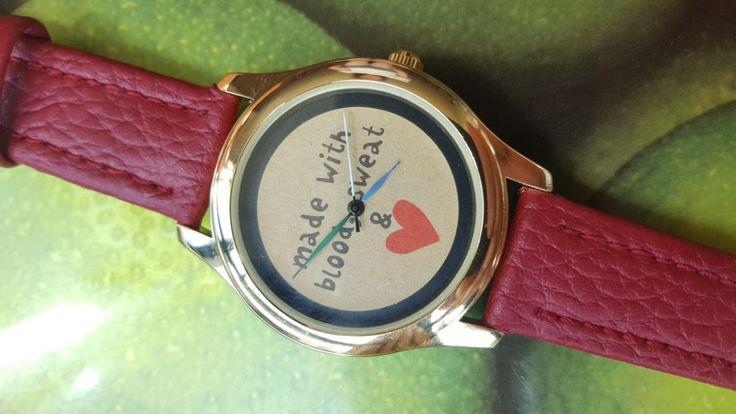 Minimalist Red Watch, Slogan Watch, Original design watch, Women's Jewellery, Statement Watch, Handmade Watch, Fun Gift by IrishFashionWatches on Etsy