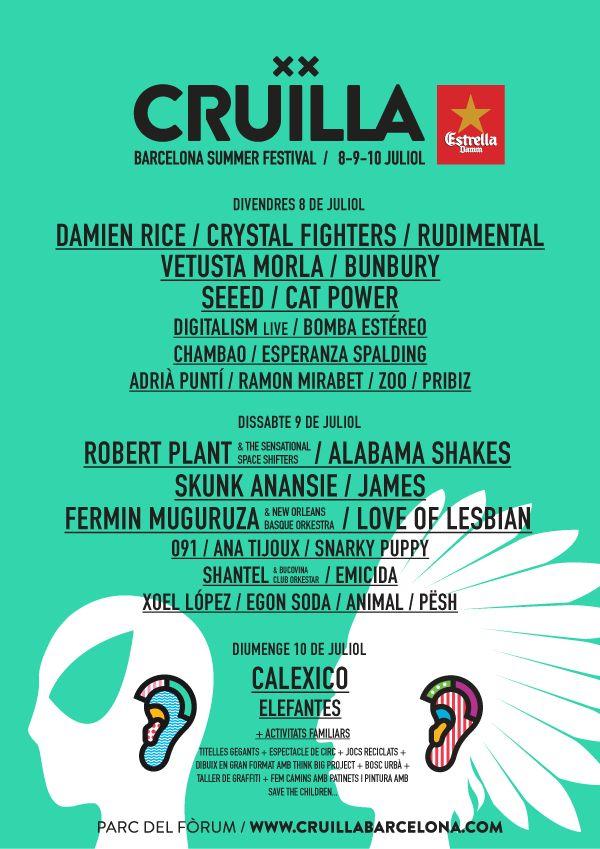 Festival Cruïlla 2016 con Damien Rice, Calexico o Robert Plant entre otros