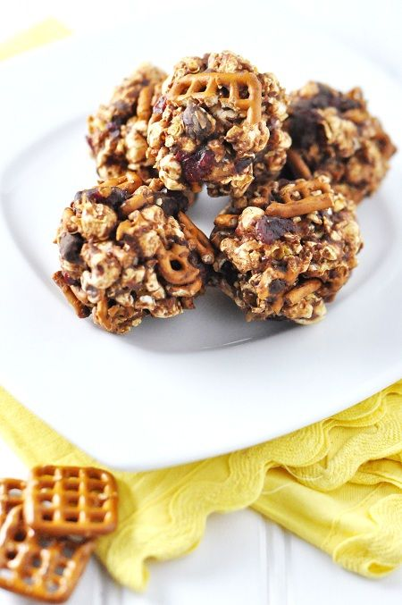 Post image for Dark Chocolate Peanut Butter Pretzel & Cranberry Popcorn Balls and Healthy Snacking Tips