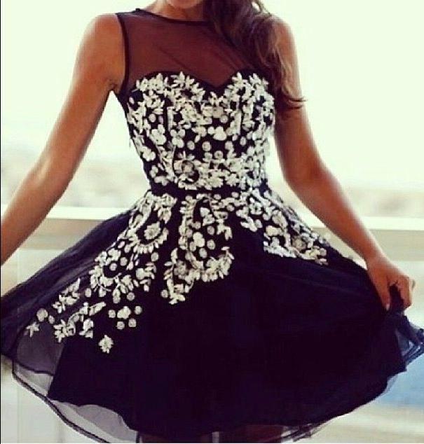 White Lace Cap Sleeves Black Homecoming Dresses,Cocktail Dresses - Thumbnail 1
