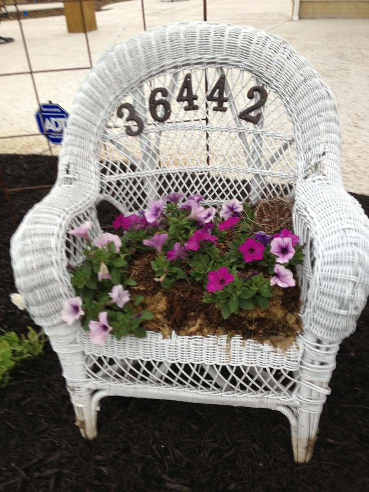 Repurposed wicker chair made into planter | Chairs