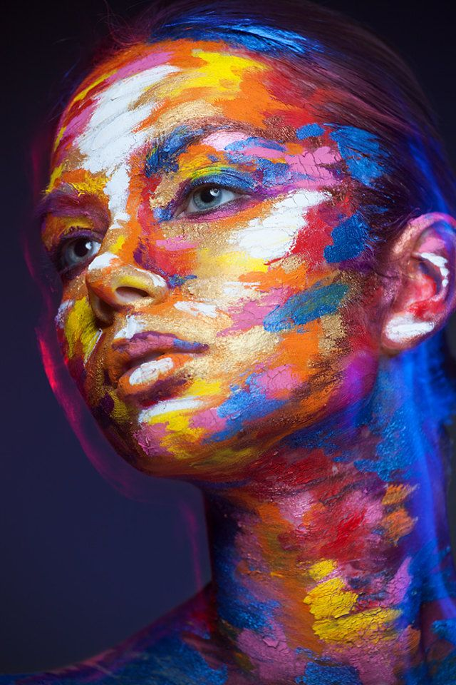 """The project explains: """"Valeriya used different techniques of face painting so you can see a lot of variations - from sketch and graphic arts to water-colour and oil-paintings. This is a combination of interesting make-ups, studio photography experiments and careful retouching."""""""