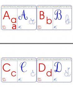 Des cartes à plastifier avec les 4 graphies des lettres de l'alphabet.