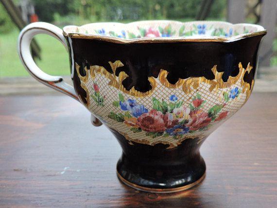 Paragon Black Needlepoint Floral Tea Cup Double Warrant