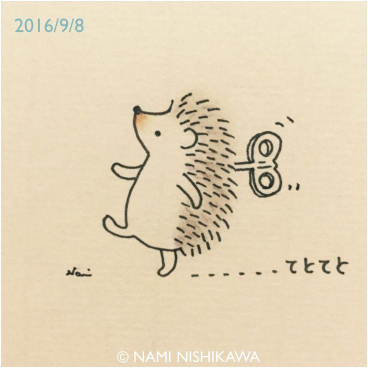 Adorable cartoon hedgehog - clockwork