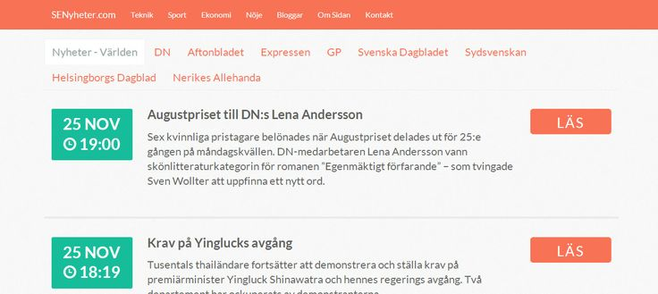 Version 2 of SENyheter.com a Swedish news feed site  Live @ http://senyheter.com/  Made with: HTML5, CSS3, LESS, Git, jQuery, Bootstrap v3 and PHP, SimplePie.