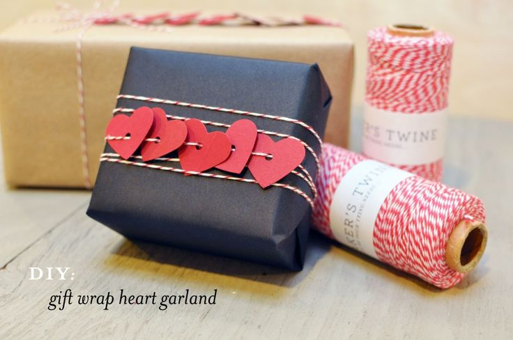 Can be customized for different holidays or occasions. (DIY: gift wrap heart garland - Smitten on Paper)