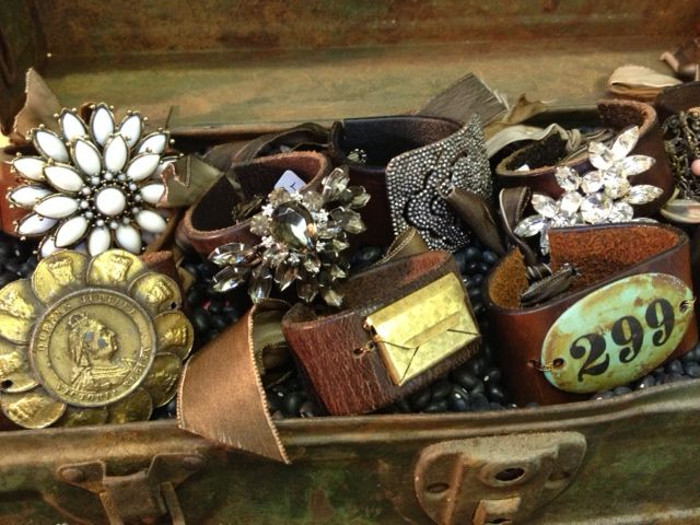 Vintage brooch and leather bracelets by Novel. Antiquing with Lisa Gabrielson Design