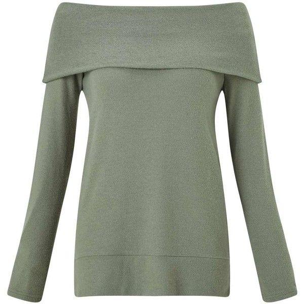 Miss Selfridge Khaki Soft Touch Bardot Top (170 BRL) ❤ liked on Polyvore featuring tops, khaki, green top, khaki green top, longline tops, khaki top and long sleeve tops