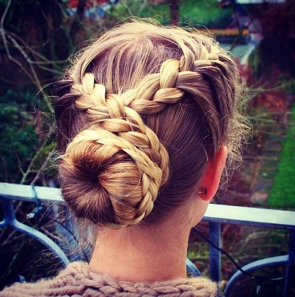Simple French braided updo. An idea for Highland dancers.