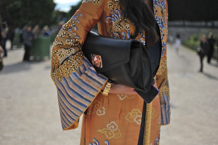 I like the mix of a structured bag with a boho jacket/dress. Maybe for a Boho Babe shot.