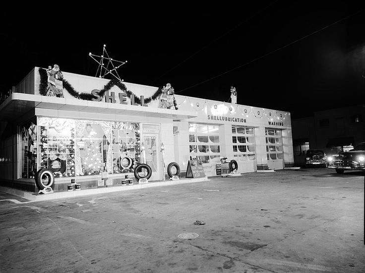 Shell Gas Station NC Christmas Eve 1955