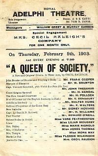 """Programm für eine Königin der Gesellschaft """"an der dritten Adelphi Theatre in den frühen 1900er Jahren."""