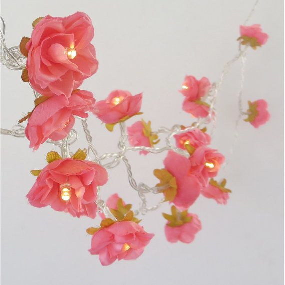 Deep Coral Pink Shabby Rose Fairy Lights Pretty Flower String Lights Nursery Party Lighting