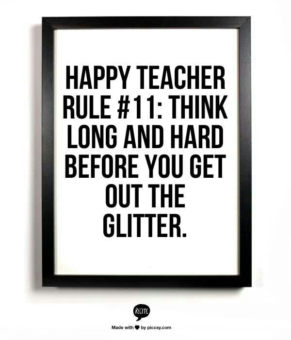 But we can't have elementary school without glitter! #teachers #education #humor