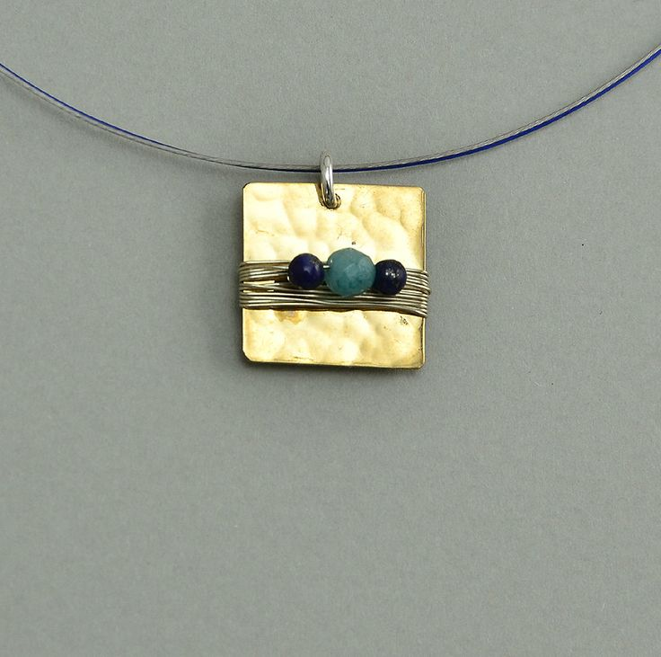 Short necklace with square hammered tumbaga pendant, necklace with square pendant and navy blue beads, every day use golden tumbaga necklace by NataliaNorenasilver on Etsy