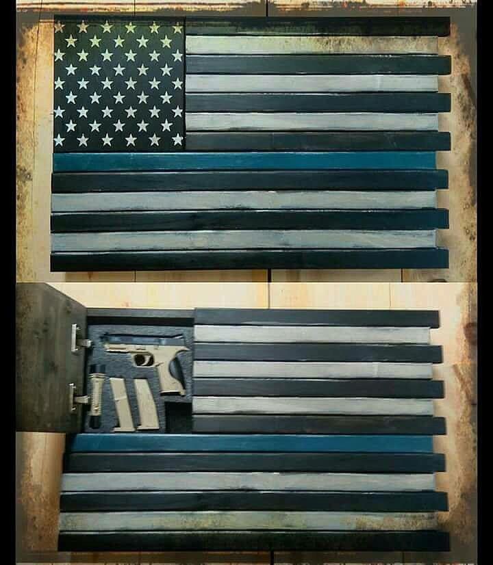 Thin Blue Line hidden compartment for gun storage