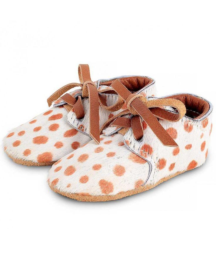 Donsje Shoes Safari Exclusive cow hair dalmatian cognac