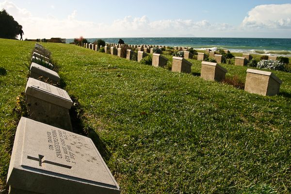 Gallipoli-Turkey- war cemetary  the countless white crosses stand mute in th...