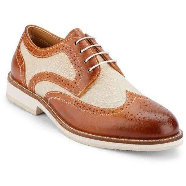 G.H. Bass  Co. Tannatural Norman Wingtip Oxford ($120) ❤ liked on Polyvore featuring men's fashion, men's shoes, men's oxfords, mens wingtip shoes, mens oxford shoes, mens wing tip shoes and men's wingtip oxford shoes