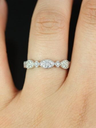 Marquisa 14kt Vintage Styled Oval and Marquise Diamonds Almost Eternity Band (Other Metals and Stone Options Available)
