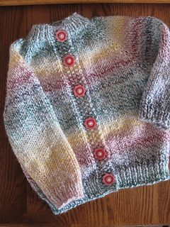 Baby Cardigan by Joy Jannotti, free pattern on Ravelry. Knit in one piece from the top down on straight needles, raglan style.