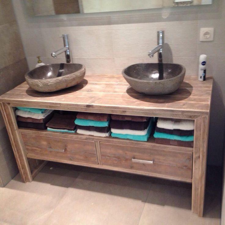 Meuble salle de bain Pays Bois avec 2 tiroirs freinés