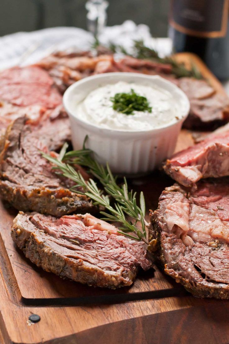 Simple Garlic Rosemary Prime Rib Roast with Horseradish Cream Made this for Christmas Eve dinner -- easy and so good!