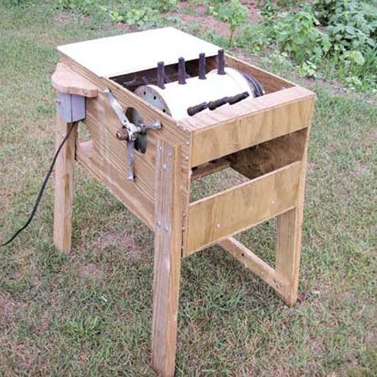 A Michigan farmer shares how he built an inexpensive homemade chicken plucker for his small backyard flock.