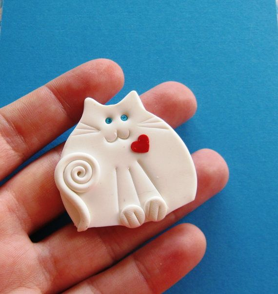 Polymer Clay White Cat with Red Heart Brooch or by Coloraudia
