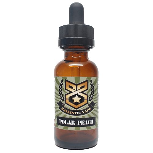 Ballistic Vape Polar Peach 15ml - A rush of peach and menthol to give you that perfect vape on a hot sunny day.60% VGShips from Ballistic Vape- California