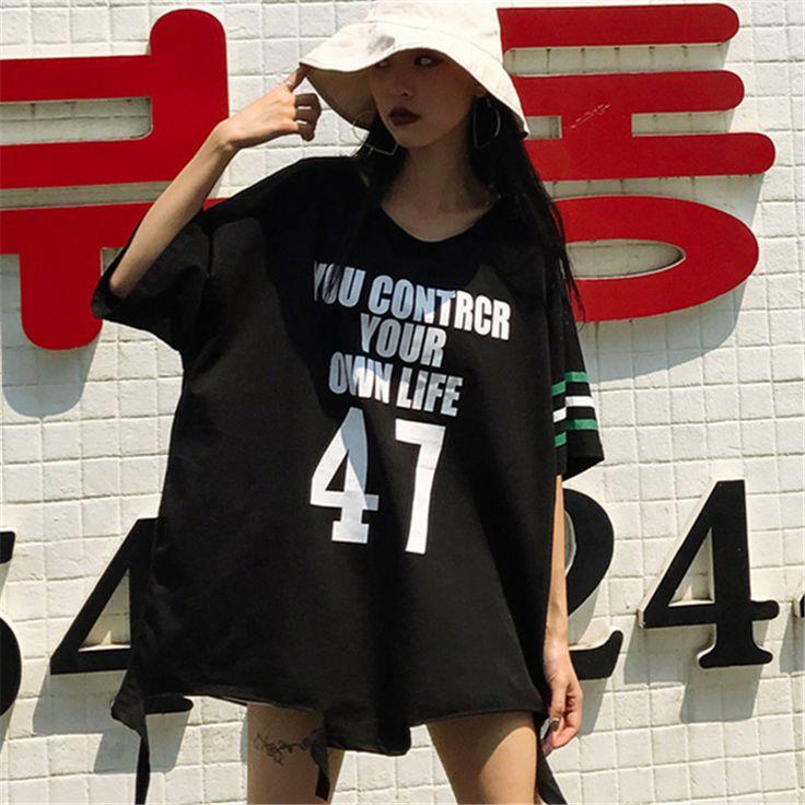 韓国ファッション原宿 ロゴ ナンバー47プリント 半袖 Tシャツ ファッション レディース カラフル ダンス 衣装 派手 カワ 個性的 かわいい