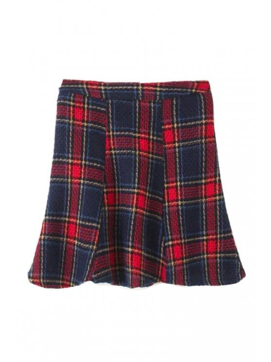 High-Waisted Plaid Tweed Fishtail Skirt - Red L #Shoproads #onlineshopping #women #fashion #skirts